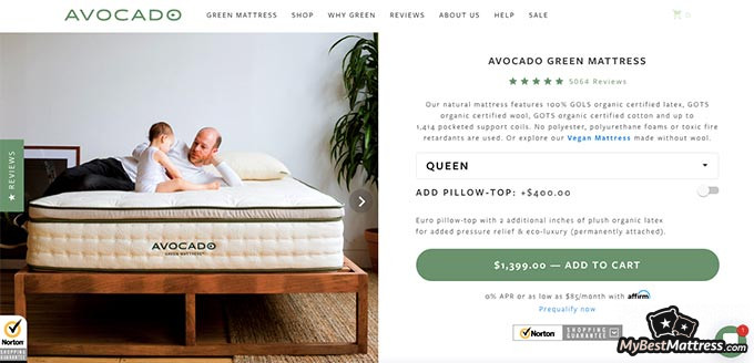 Avocado mattress reviews: Avocado's product page.