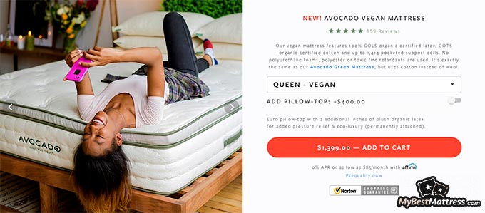 Avocado mattress reviews: the Avocado Vegan mattress.
