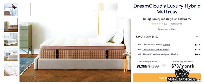DreamCloud mattress reviews: pricing page.