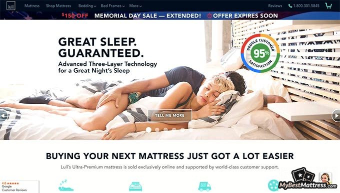 Lull mattress reviews: front page.