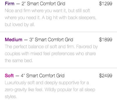 Purple mattress review: the firmness options of Purple.
